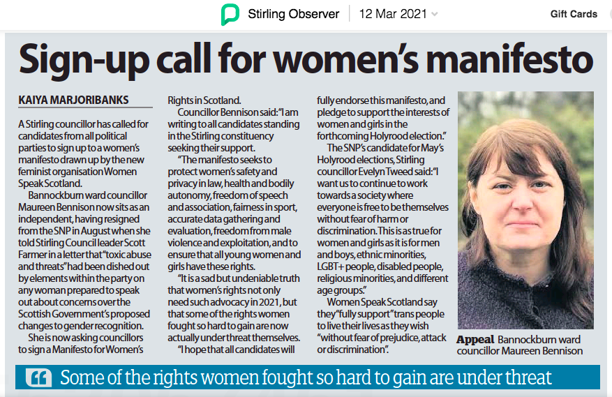 Image of a news article in the Stirling Observer from 12th March 2021. Title of article is 'Sign-up call for women's manifesto'.